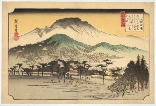 Example of an ukiyo-e woodblock print by the master Ando Hiroshige.  Ukiyo-e continue exercise a great influence on the aesthetics of manga, from the way figures are placed in panels to the detailed rendering of natural backgrounds.