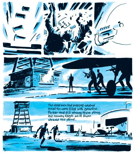 Detail from Darwyn Cooke's graphic novel adaptation of Slayground, an early Parker novel whose setting is revisited in Butcher's Moon.  Scan via Lambiek.