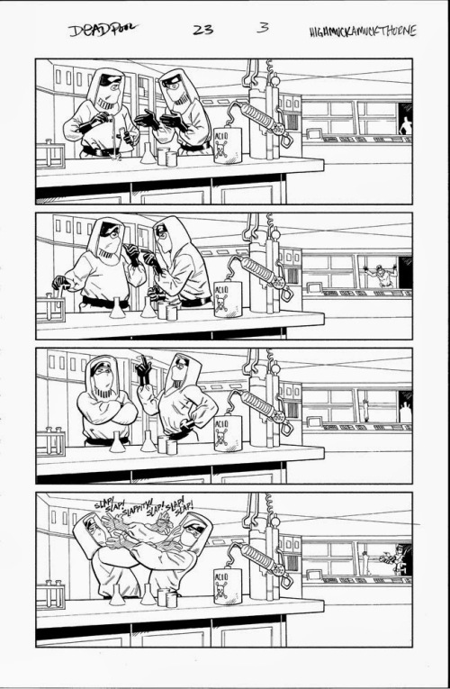 Uncolored, unlettered slapfight between henchmen from Mike Hawthorne's blog.