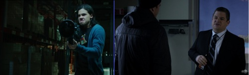 Left, newcomer Carlos Valdes as Cisco Ramon wielding Dr. Light's light-gun; Right, Patton Oswalt as Agent Eric Koenig in one of Nick Fury's Secret Bases