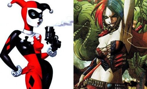 Old vs. Nu Harley Quinn illustration via Comics Alliance