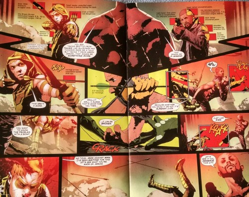 Arrow and Diggle vs. Dragon - Double page spread from Green Arrow #34.
